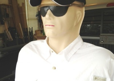 Sun glasses are sewn and rivited to head